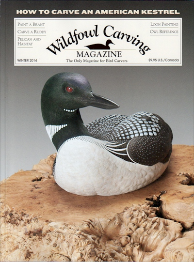 Laurie J. McNeil's Decorative Lifesize Common Loon Cover Shot Wildfowl Carving Magazine - Winter 2014